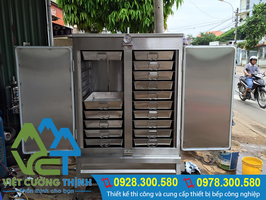 Tủ nấu cơm 100kg bằng điện và gas