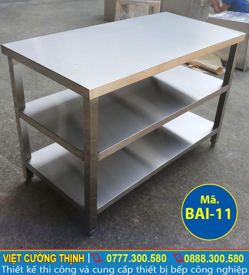 Báo giá bàn bếp inox 304, bàn bếp công nghiệp, bàn inox 3 tầng chất lượng