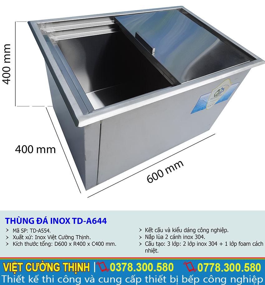 Thông số kỹ thuật thùng đựng đá âm bàn