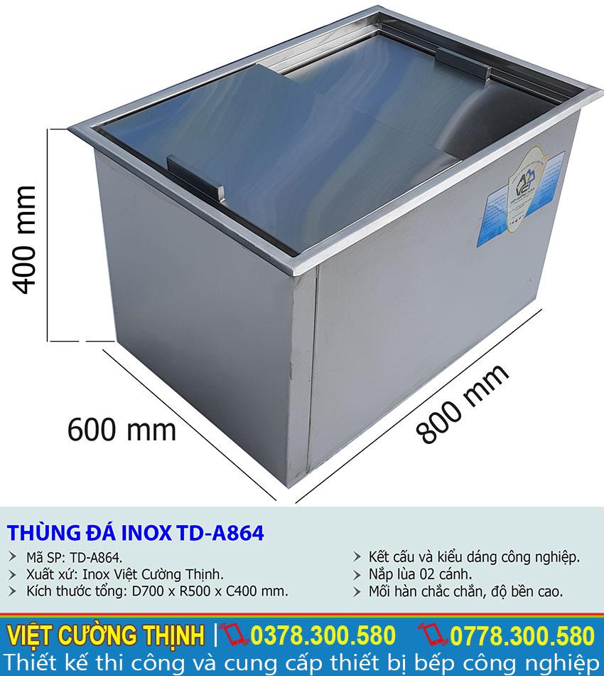 Thông số thùng đựng đá inox 304 tại Việt Cường Thịnh