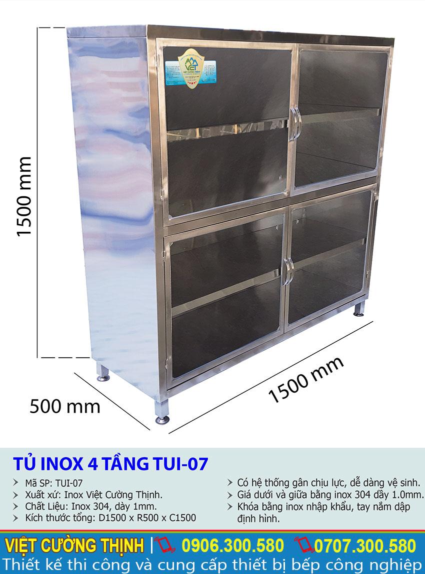 Thông số kỹ thuật Tủ chén inox 4 tầng