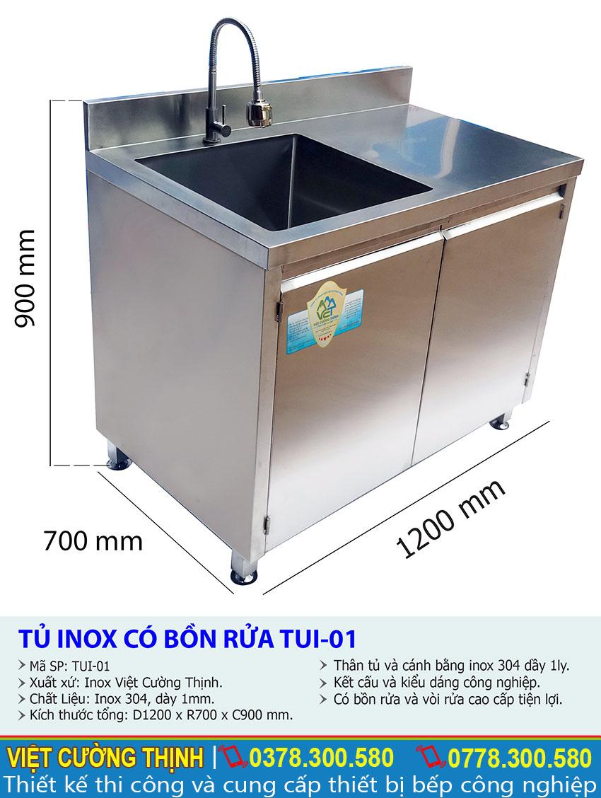 Thông số kỹ thuật Tủ inox có bồn rửa TUI-01