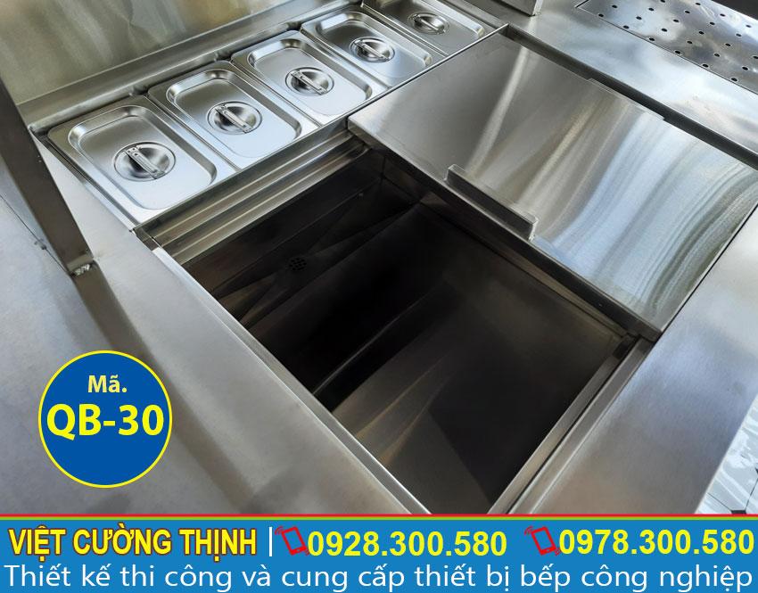 Khay topping quầy pha chế inox QB-30
