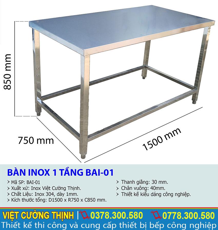 Kích thước bàn sơ chế inox 1 tầng BAI-01