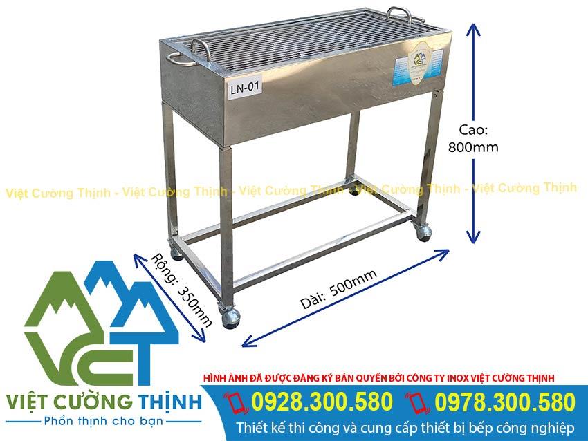 Thông số kỹ thuật bếp nướng than inox LN-01 (Ảnh thật tế).