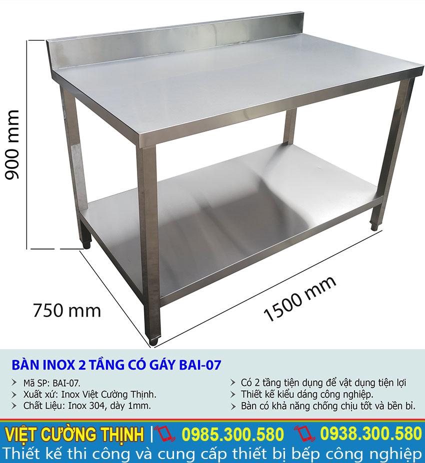 Thông số kỹ thuật bàn inox 2 tầng có gáy BAI-07