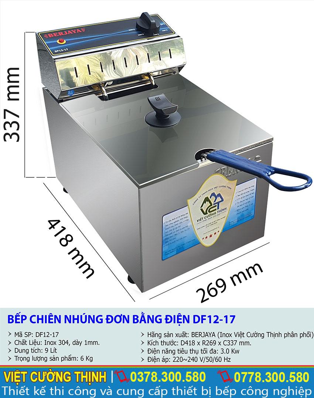 Thông số kỹ thuật bếp chiên nhúng đơn bằng điện DF12-17