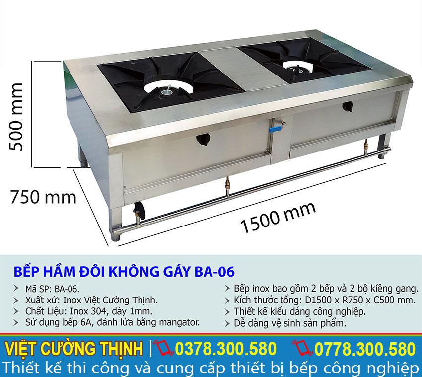 Thông số kỹ thuật Bếp hầm đôi không gáy BA-06