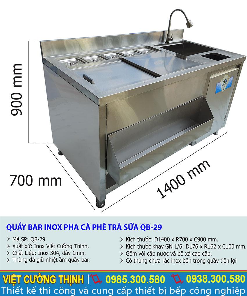 Thông số kỹ thuật quầy pha chế trà sữa inox 304 QB-29