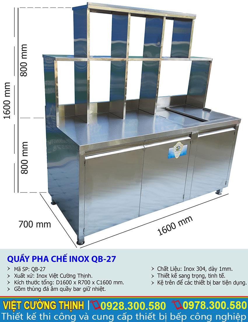 Thông số kỹ thuật quầy pha chế inox 304 QB-27