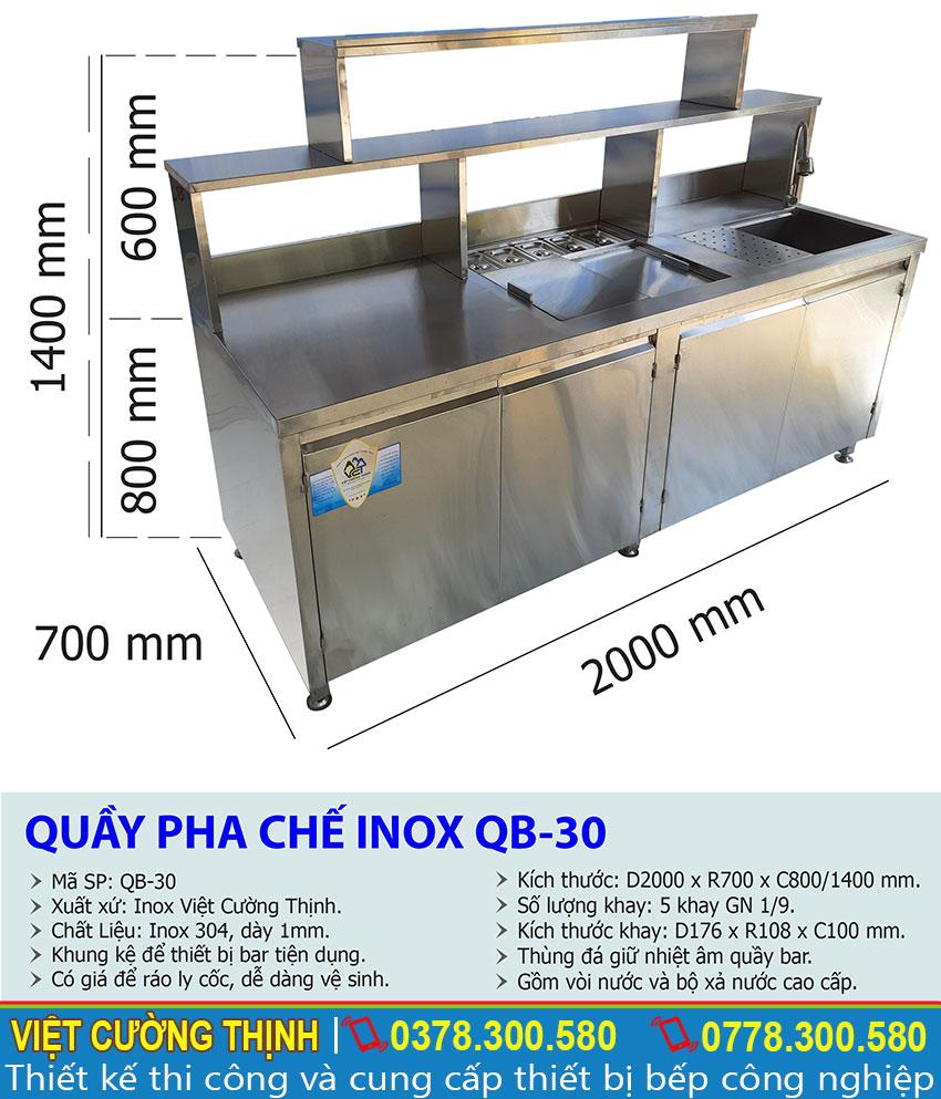 Thông số kỹ thuật quầy pha chế inox QB-30