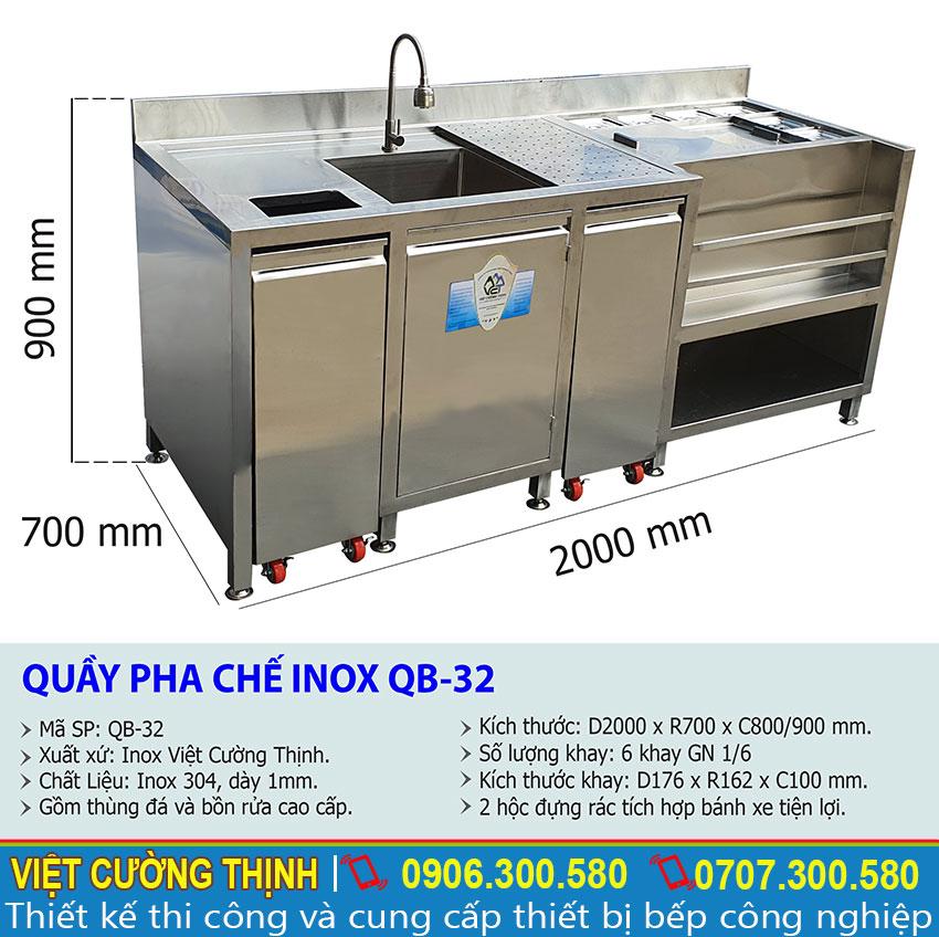 Thông số kỹ thuật Quầy pha chế inox QB-32