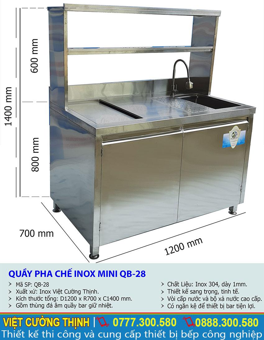 Thông số kỹ thuật Quầy pha chế inox mini QB-28