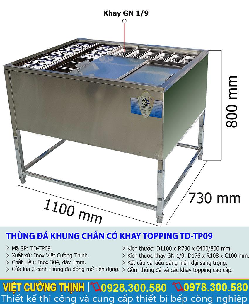 Thông số kỹ thuật Thùng đá khung chân có khay topping TD-TP09