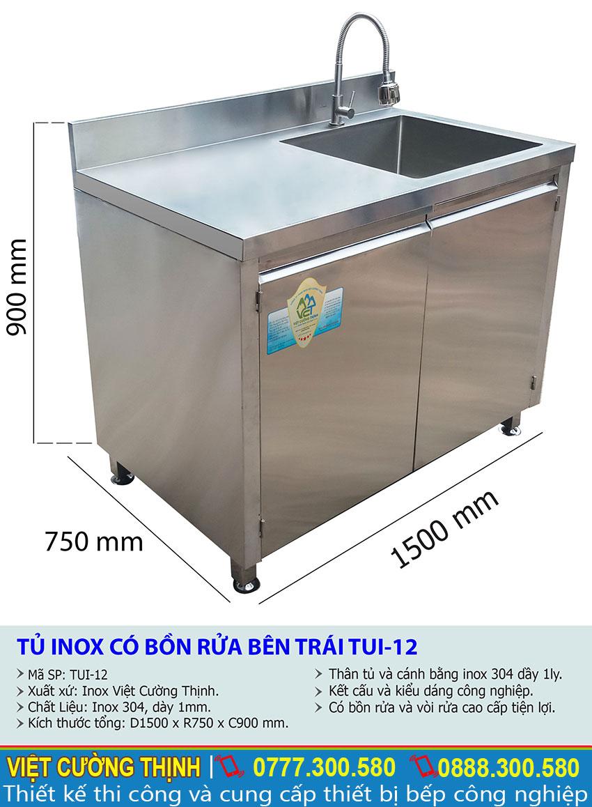 Thông số kỹ thuật Tủ inox có bồn rửa bên trái TUI-12