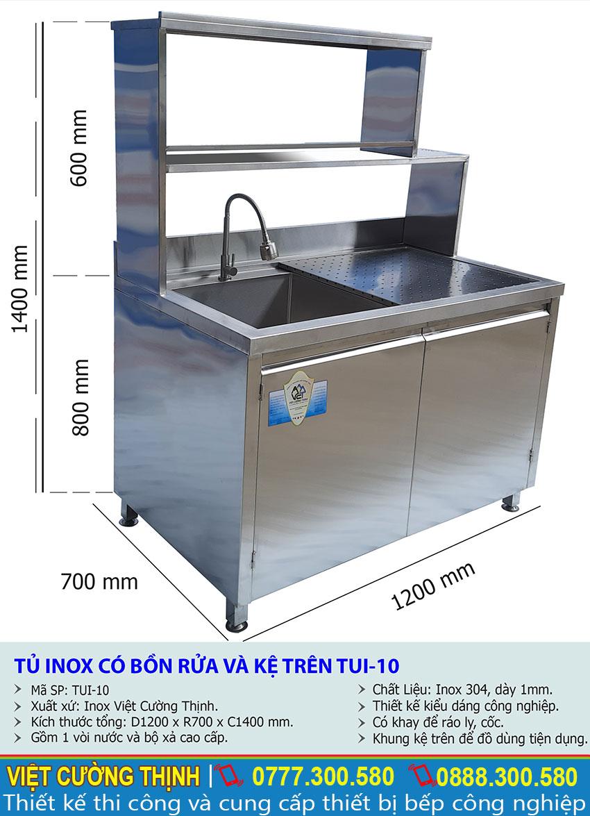 Thông số kỹ thuật Tủ inox có bồn rửa và kệ trên inox TUI-10