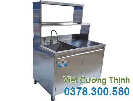 Tủ inox có bồn rửa và kệ trên inox TUI-10