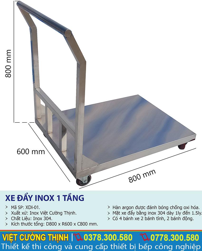 Thông số kỹ thuật Xe đẩy inox 1 tầng XDI-01