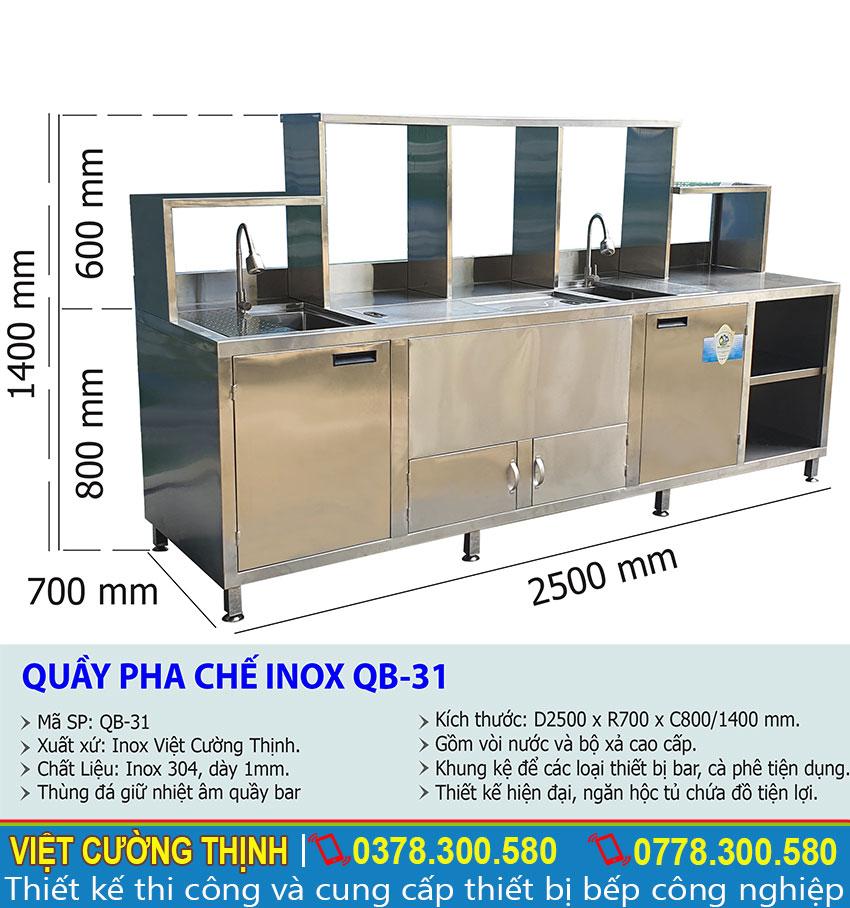 Tỷ lệ kích thước quầy bar pha chế trà sữa inox QB-31