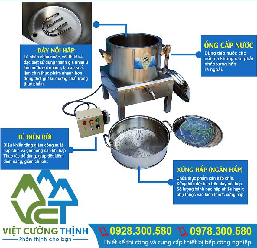 Địa chỉ mua nồi nấu xôi bằng điện uy tín chất lượng, VCT là lựa chọn tối ưu nhất hiện nay mua nồi hấp công nghiệp.