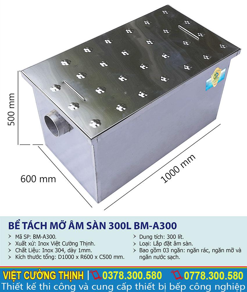 Thông số kỹ thuật Bể tách mỡ inox 300l BM-A300