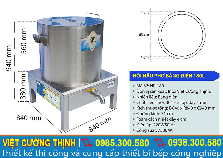 Thông số kỹ thuật nồi điện nấu phở 180L NP-180