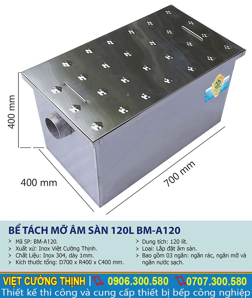 Thông số kỹ thuật Bể tách mỡ inox 120l âm sàn BM-A120