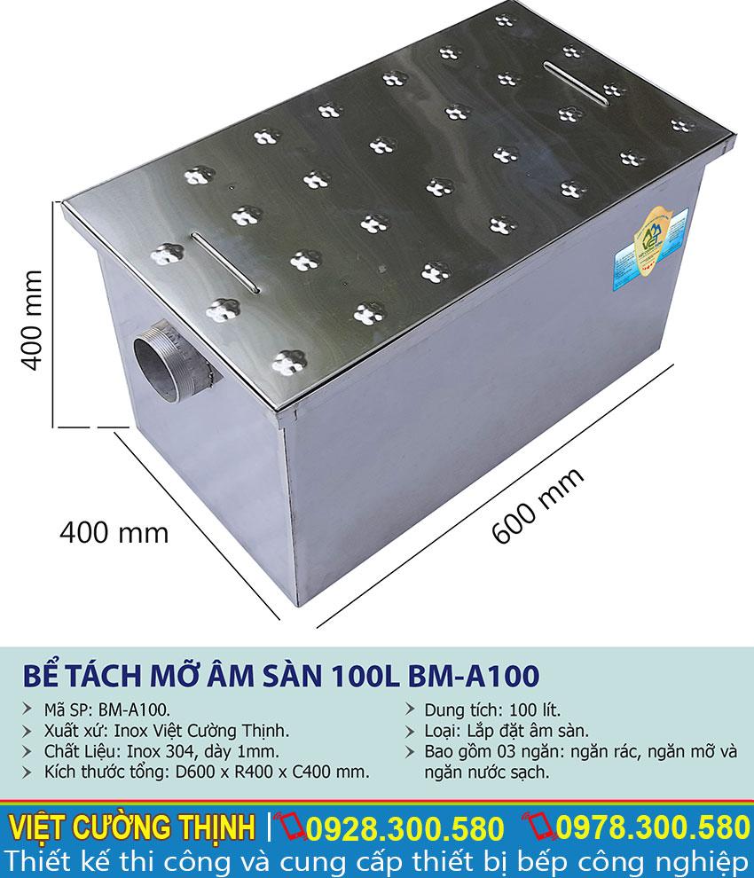 Thông số kỹ thuật Bể tách mỡ âm sàn 100l BM-A100