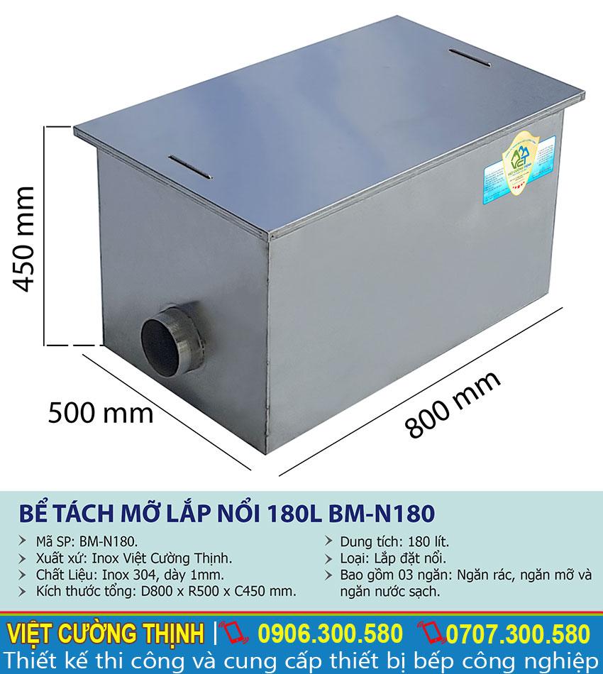 Thông số kỹ thuật Thùng lọc dầu mỡ inox 180l inox