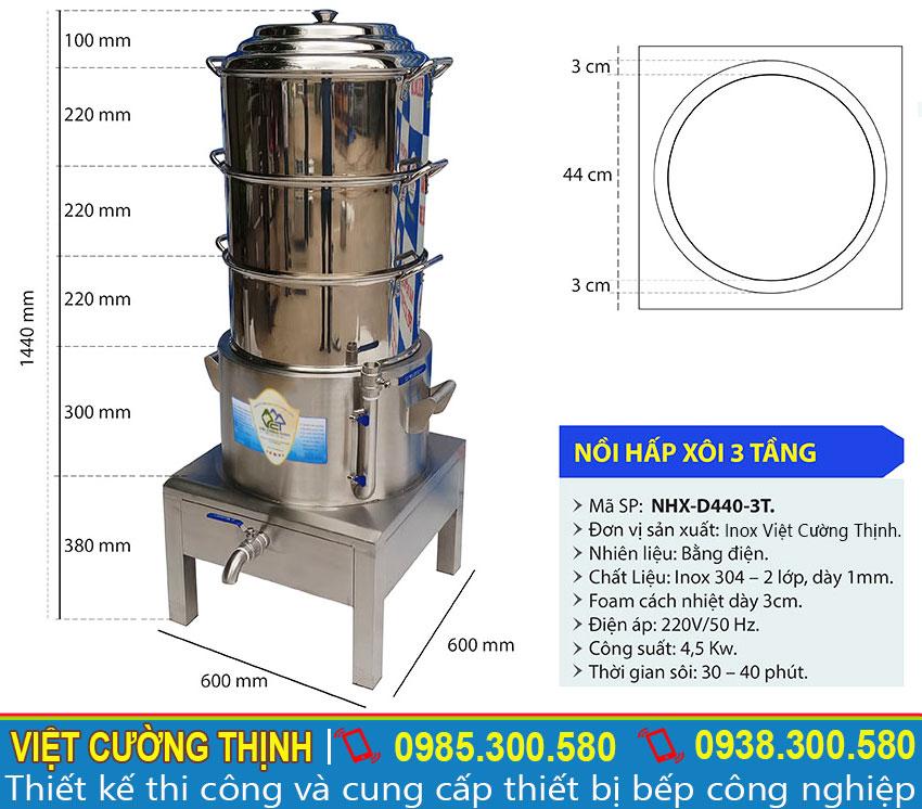 Thông số kỹ thuật của nồi hấp xôi điện công nghiệp 3 Tầng NHX-D440-3T