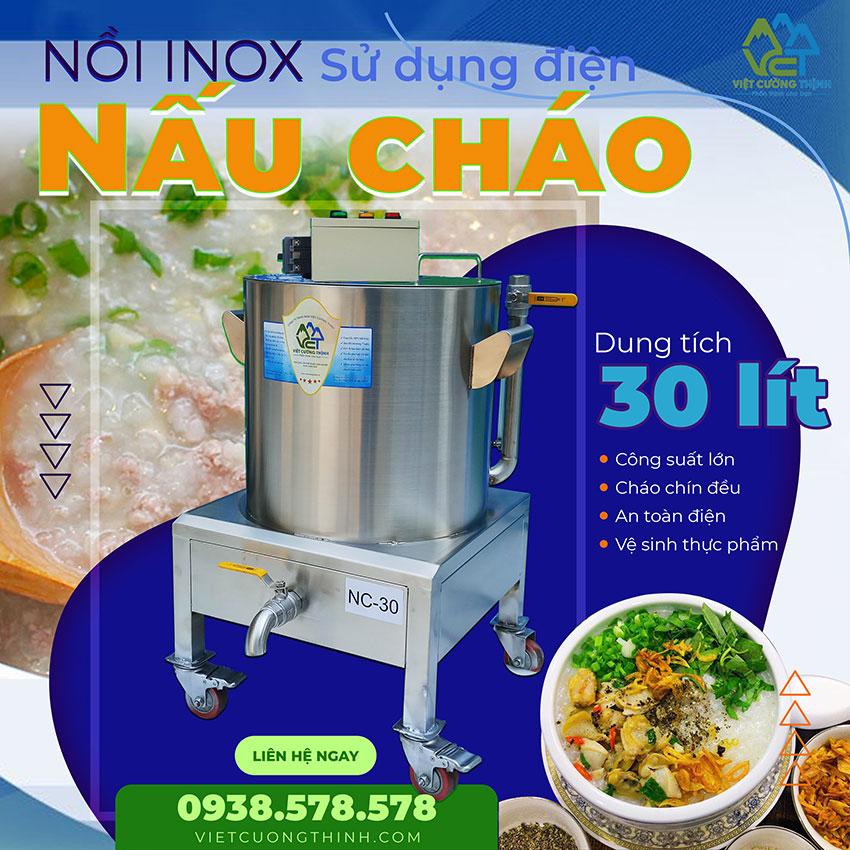 Nồi nấu cháo inox sử dụng điện 30 lít