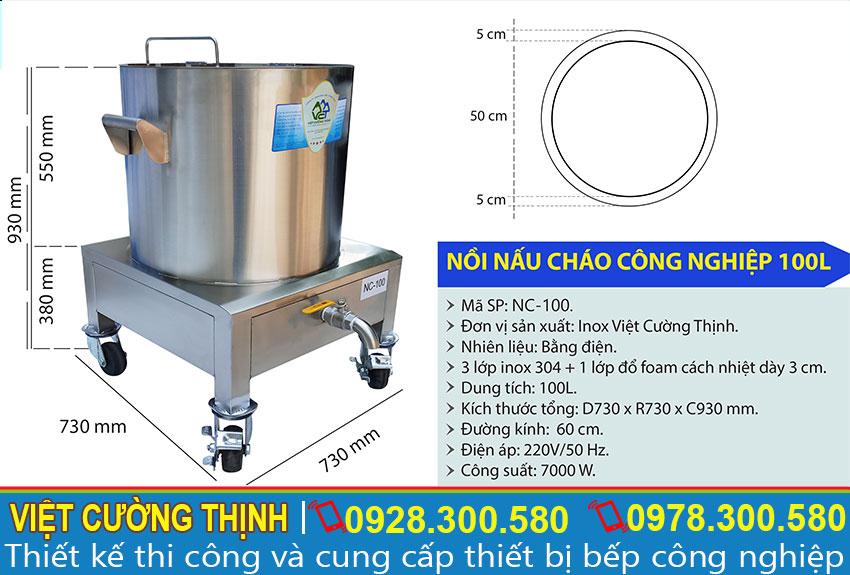Thông số kỹ thuật nồi điện nấu cháo công nghiệp 100L NC-100