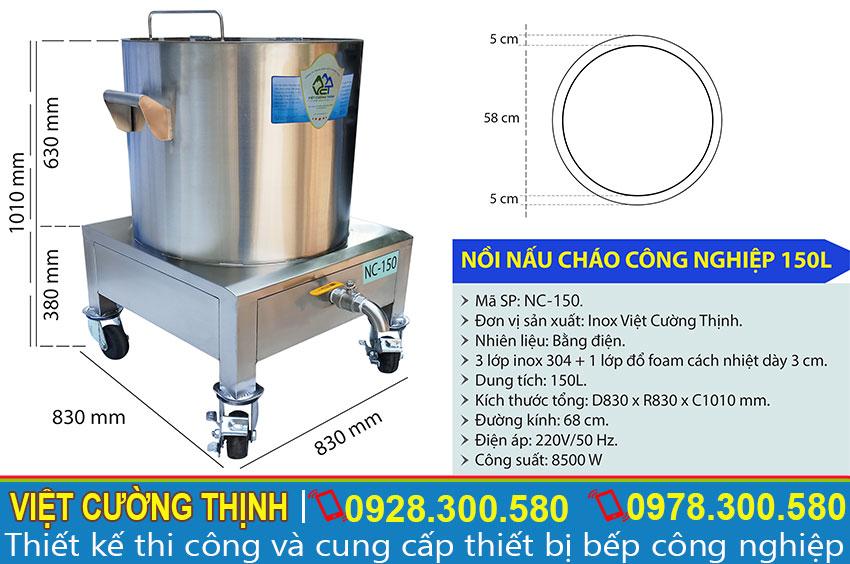 Thông số kỹ thuật nồi điện nấu cháo công nghiệp 150L NC-150