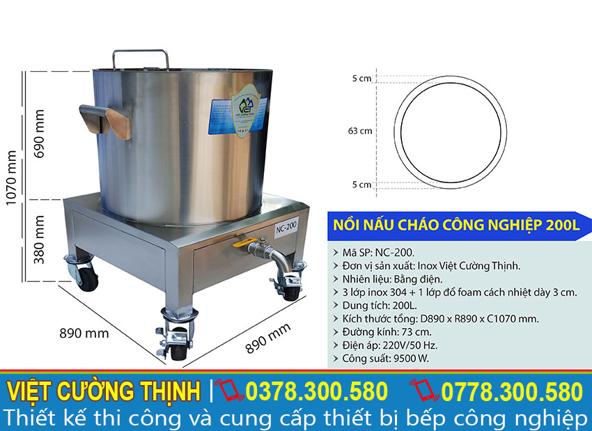 Thông số kỹ thuật nồi điện nấu cháo công nghiệp 200L NC-200