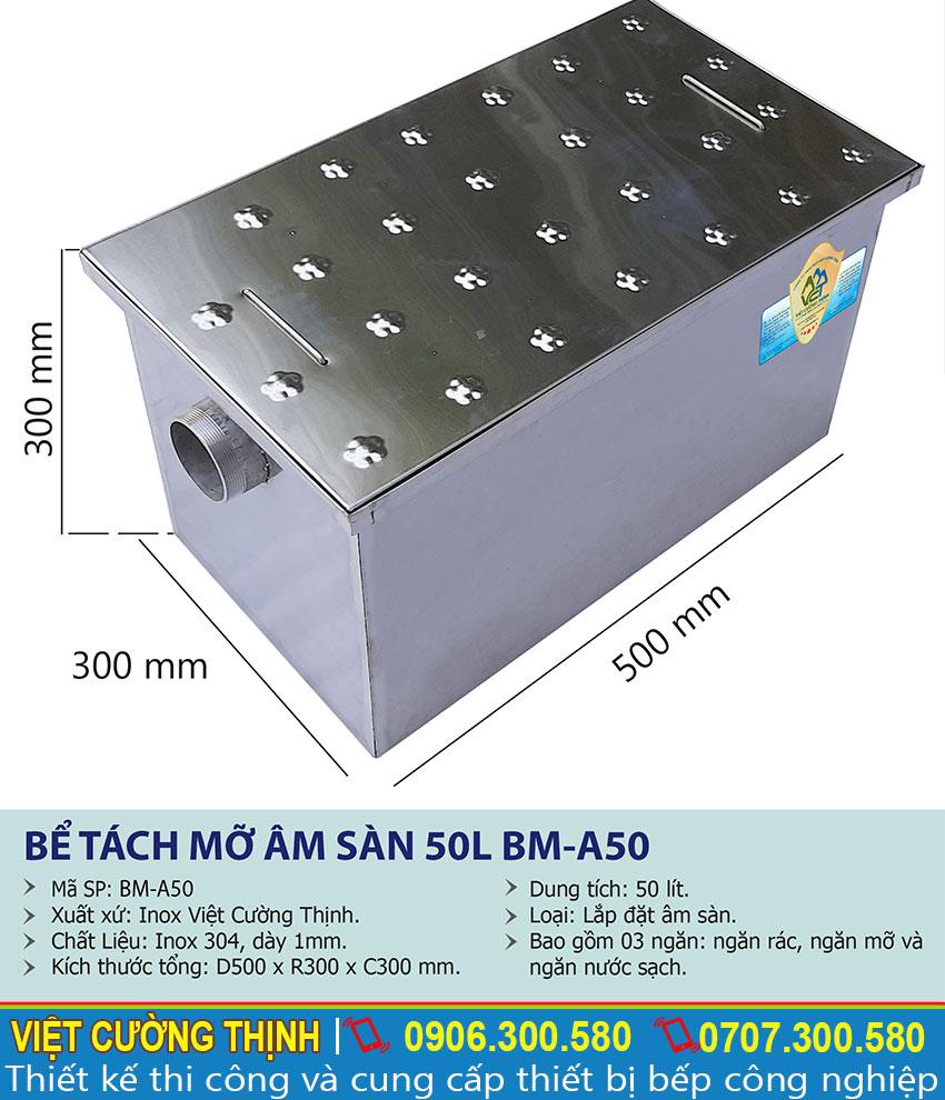 Thông số kỹ thuật Bể tách mỡ âm sàn 50l BM-A50