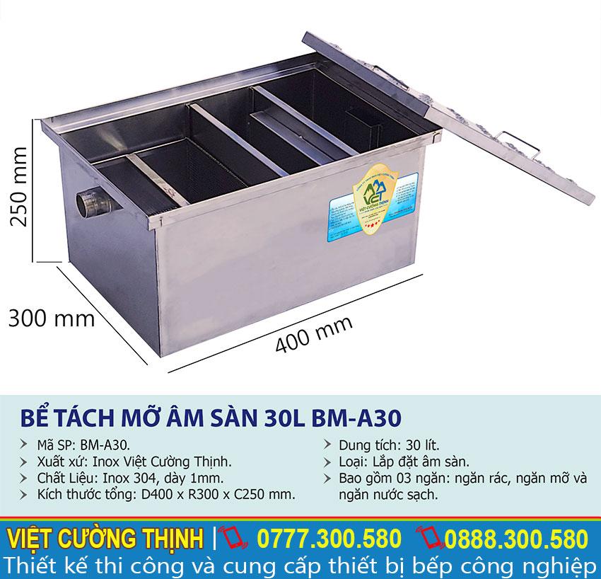 Thông số kỹ thuật Bễ tách mỡ inox gia đình 30l BM-A30