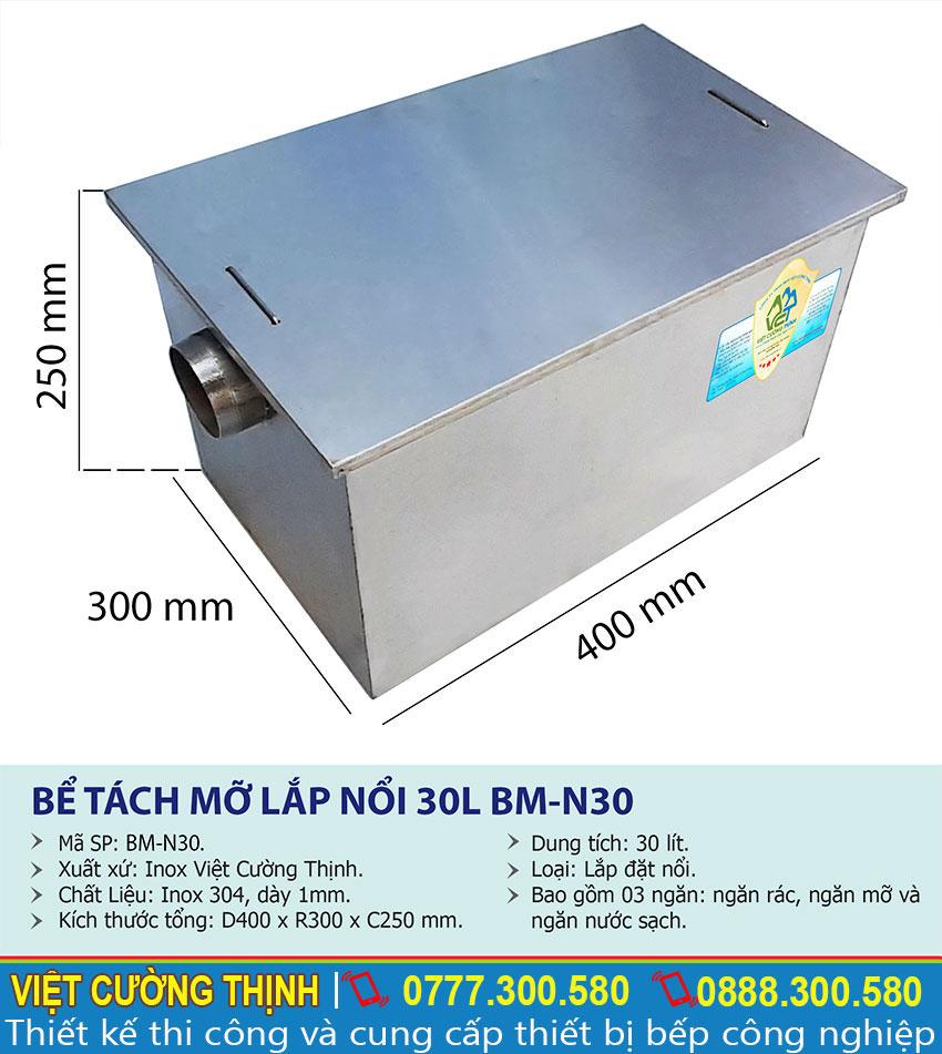 Thông số kỹ thuật bể tách mỡ inox 30L BM-N30