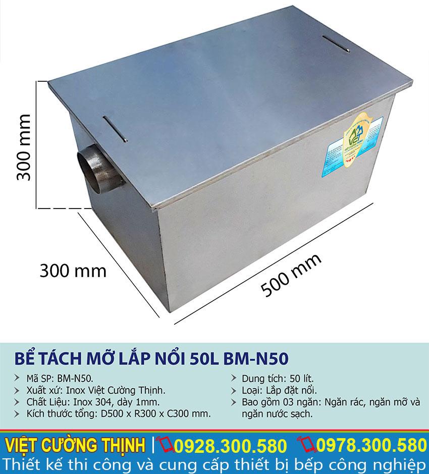 Thông số kỹ thuật Bể tách mỡ inox 50l
