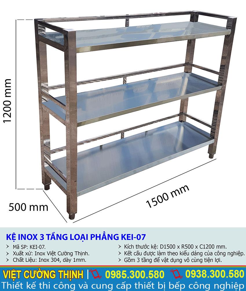 Thông số kỹ thuật kệ inox 3 tầng loại phẳng KEI-07