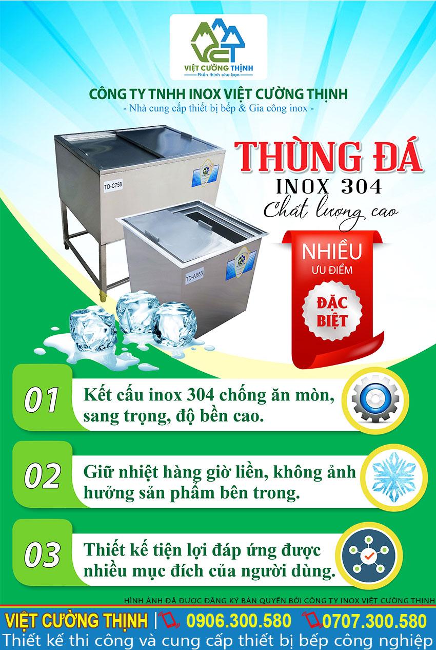 Thùng đá inox chất lượng cao Việt Cường Thịnh
