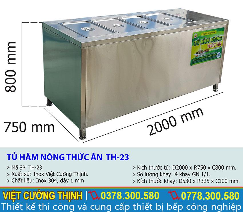Tỷ lệ kích thước tủ hâm nóng 4 khay TH-23