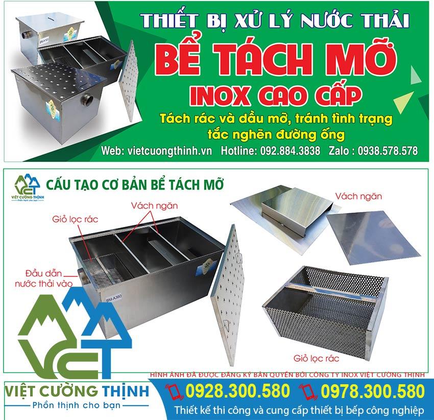 Cấu tạo bể tách mỡ inox Việt Cường Thịnh