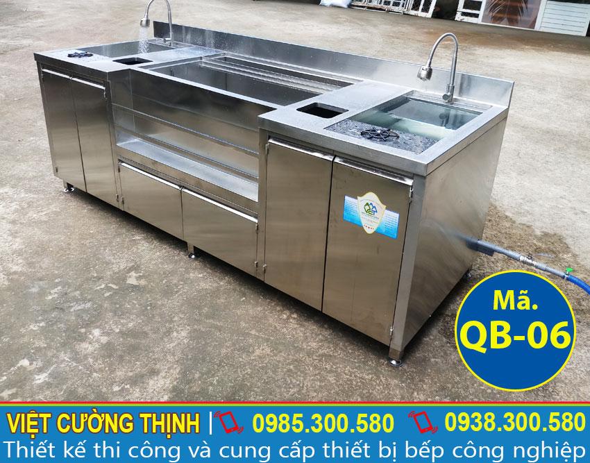 Quầy Bar Pha Chế Trà Sữa 2m6 Inox 304 QB-06