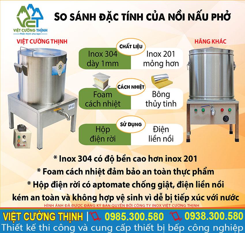 So sánh đặc tính nồi nấu phở Việt Cường Thịnh với nồi phở Trung Quốc