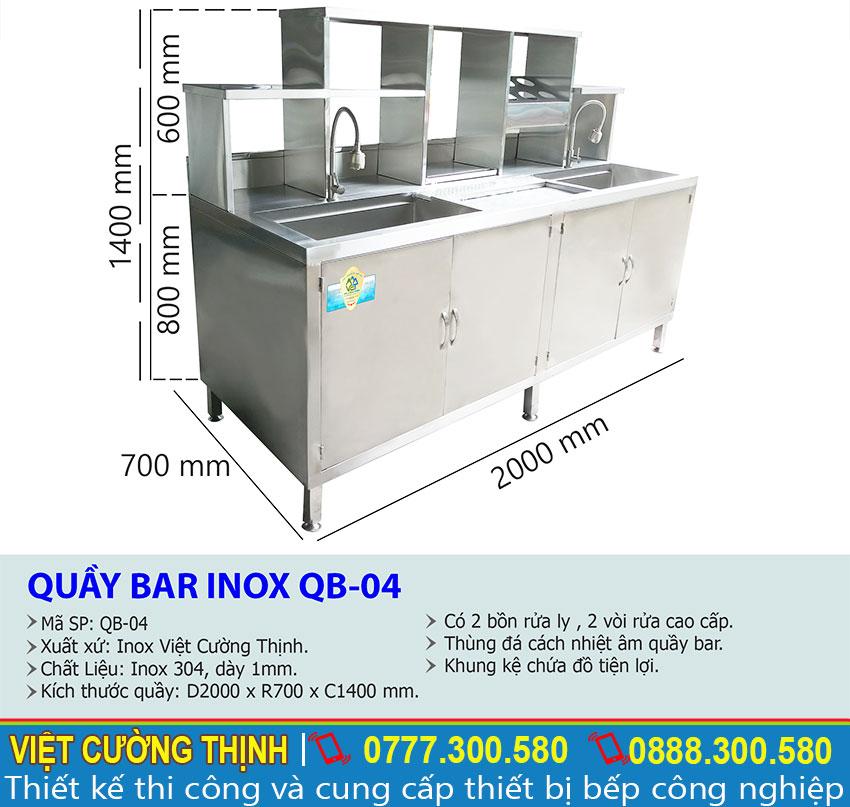 Thông số kỹ thuật Mẫu Quầy Bar Pha Chế Cafe Inox 304 QB-04