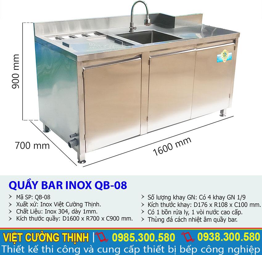Thông số kỹ thuật Quầy Bar Pha Chế Cafe Inox 304 Cao Cấp QB-08