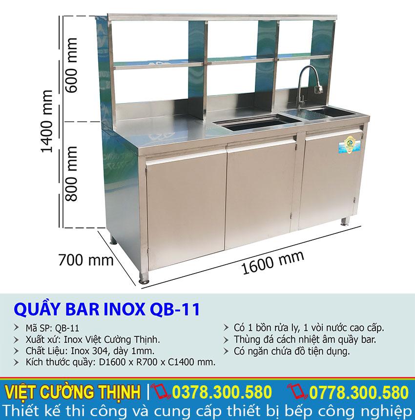 Thông số kỹ thuật Quầy Bar Pha Chế Cafe Inox QB-11