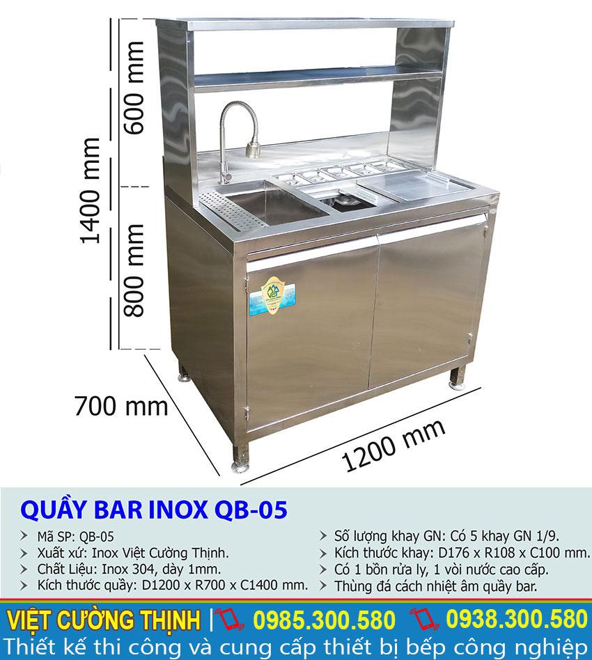 Thông số kỹ thuật Quầy Bar Pha Chế Inox Mini