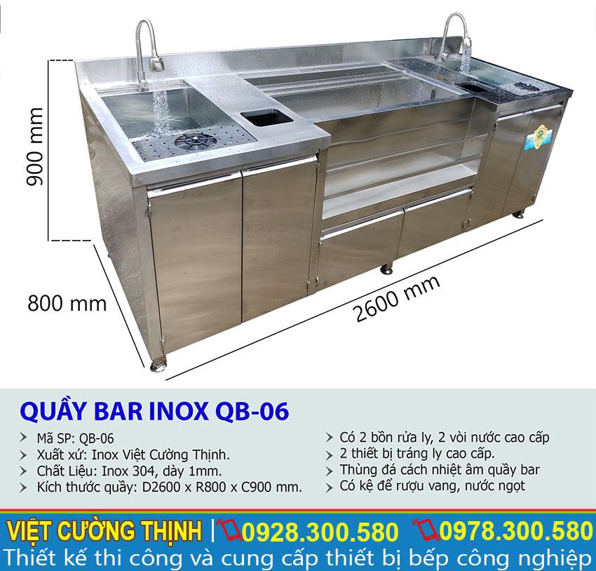 Thông số kỹ thuật Quầy Bar Pha Chế Trà Sữa 2m6 Inox 304 QB-06