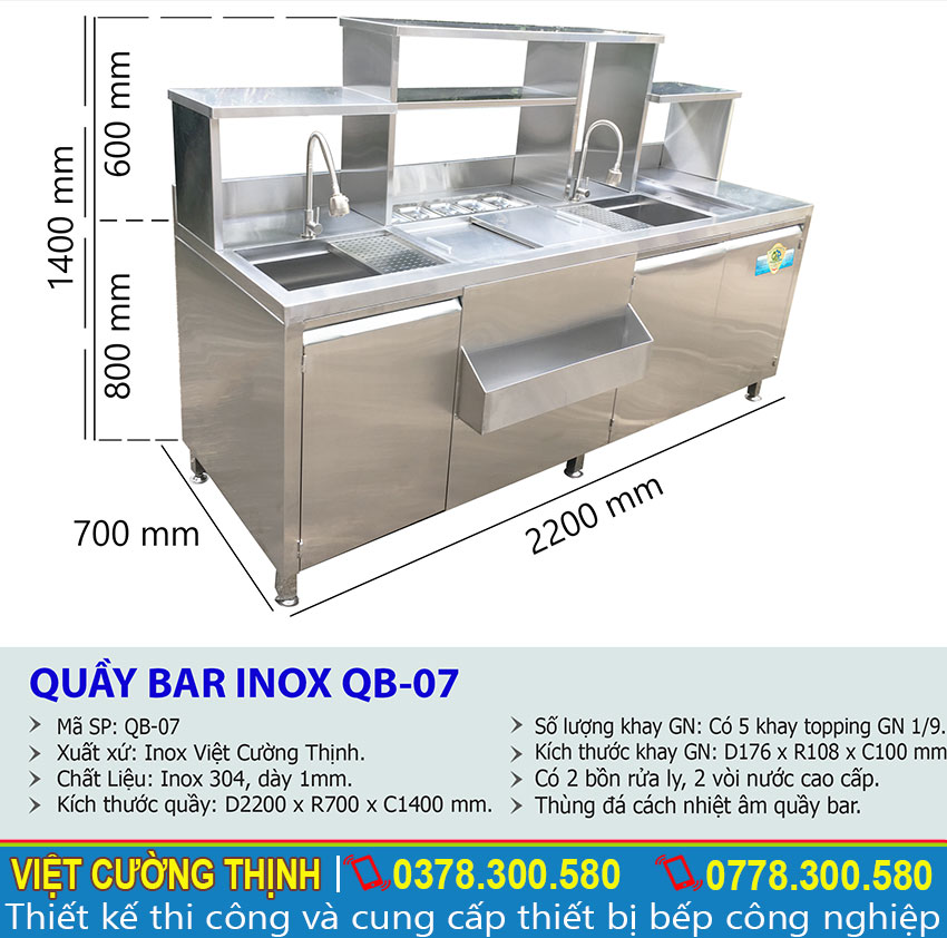 Thông số kỹ thuật Quầy Bar Pha Chế Trà Sữa Inox 304 QB-07